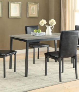 Faux Marble Dining Table Set W Black Leatherette Chairs