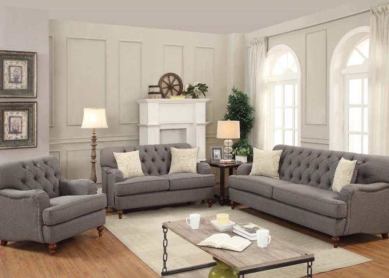 Removable Cushioned Gray Sofa Set