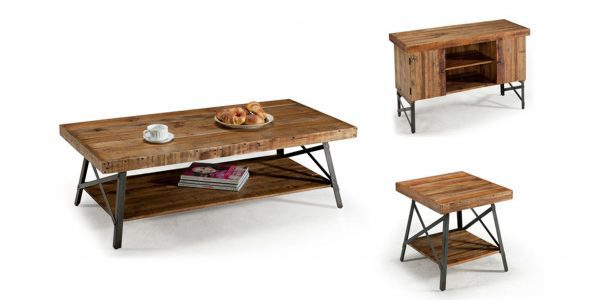 Distressed Reclaimed Wood Coffee Table Set
