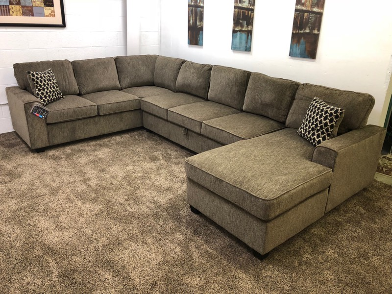 Brown Chenille U-Shaped Sectional Sofa w/ Storage ...