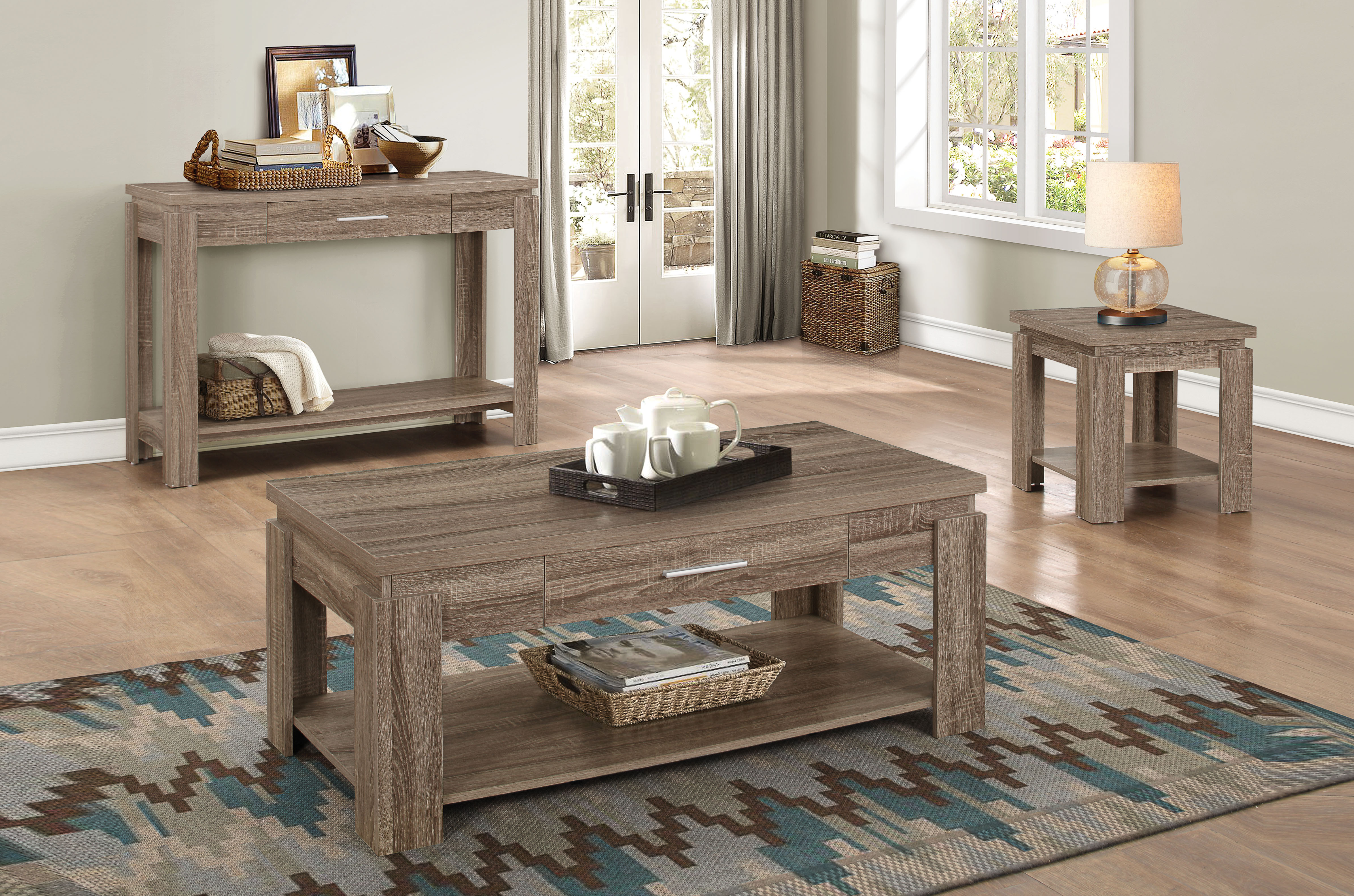 Coffee Table Set With Driftwood Style Veneer And Thin Chrome Handles For Drawers