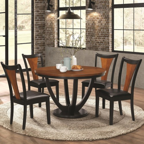 Two Tone Round Dining Table w/ 4 Chair Set