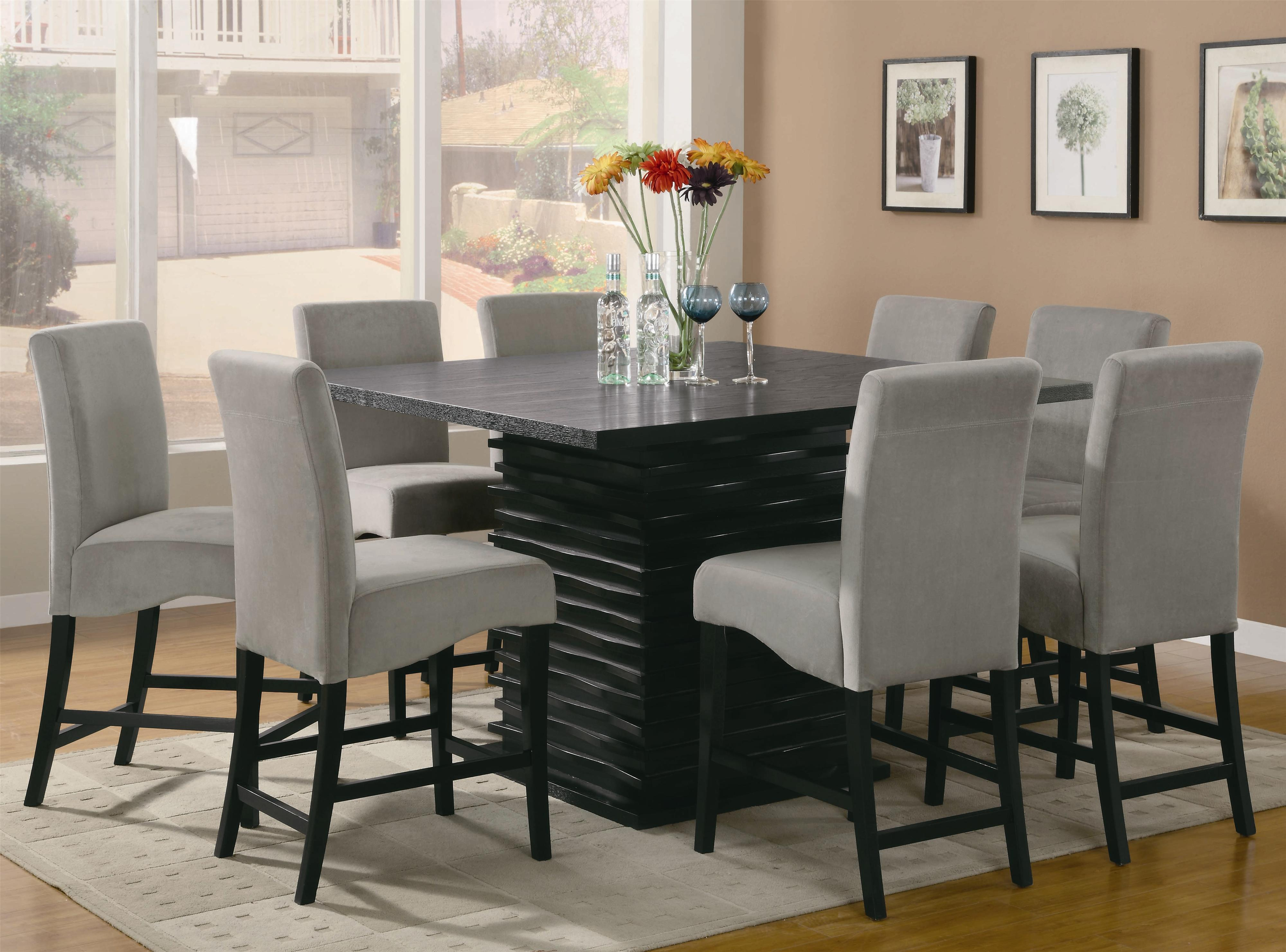 Black Wave Counter Height Dining Table and Chair Set