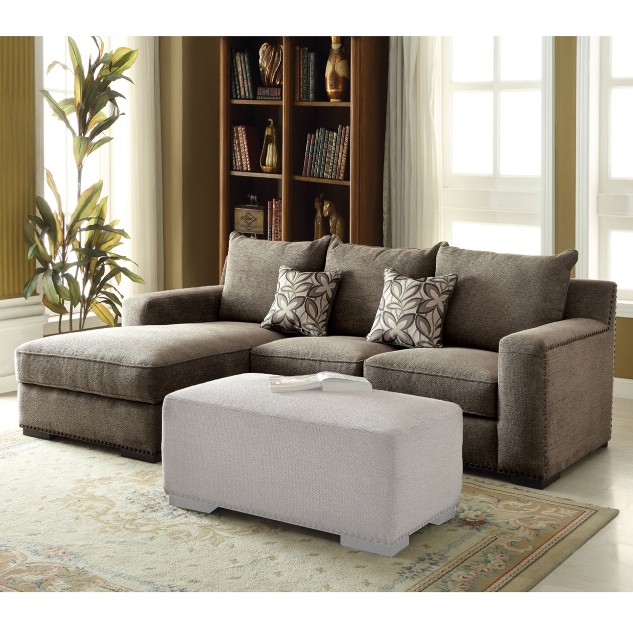Sectional Sofa And Ottoman With Gray Chenille Fabric Finish