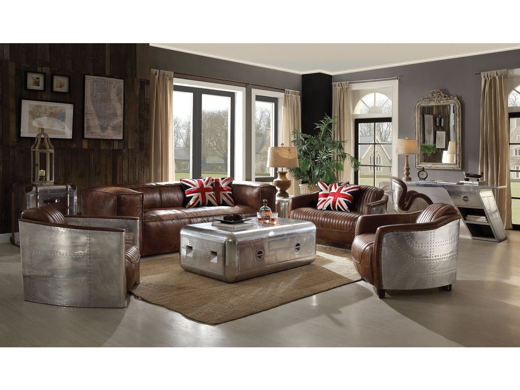 Sofa Set In Leather And Aluminum Panelling