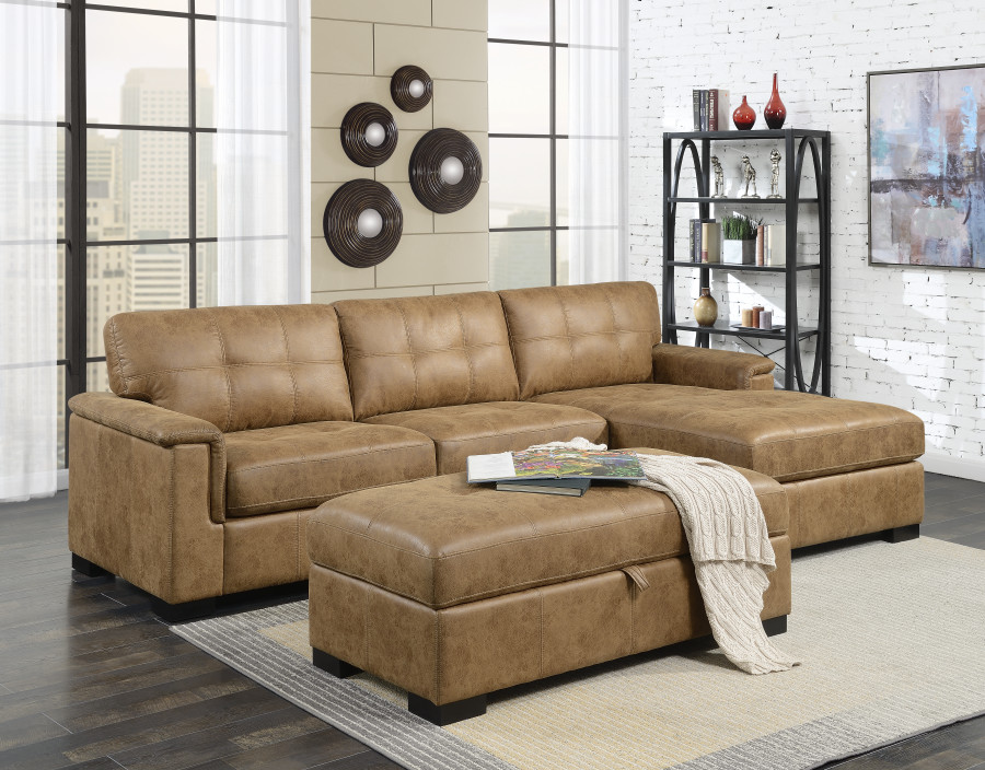 Saddle Brown Faux Leather Sofa Sectional With Chaise In