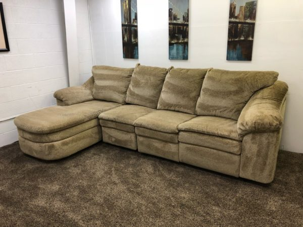(Reserved)#1161- 3 Piece Light Brown/Tan Chenille Reclining Sectional Sofa  Set With Chaise Lounge
