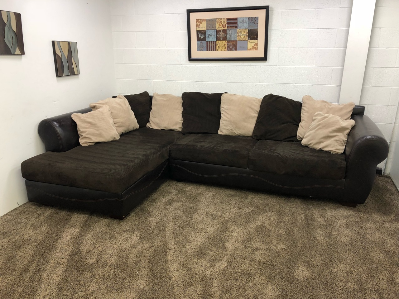 (Reserved)#1096- Dark Brown Corduroy/PU Leather Sectional Set with Chaise  Lounge