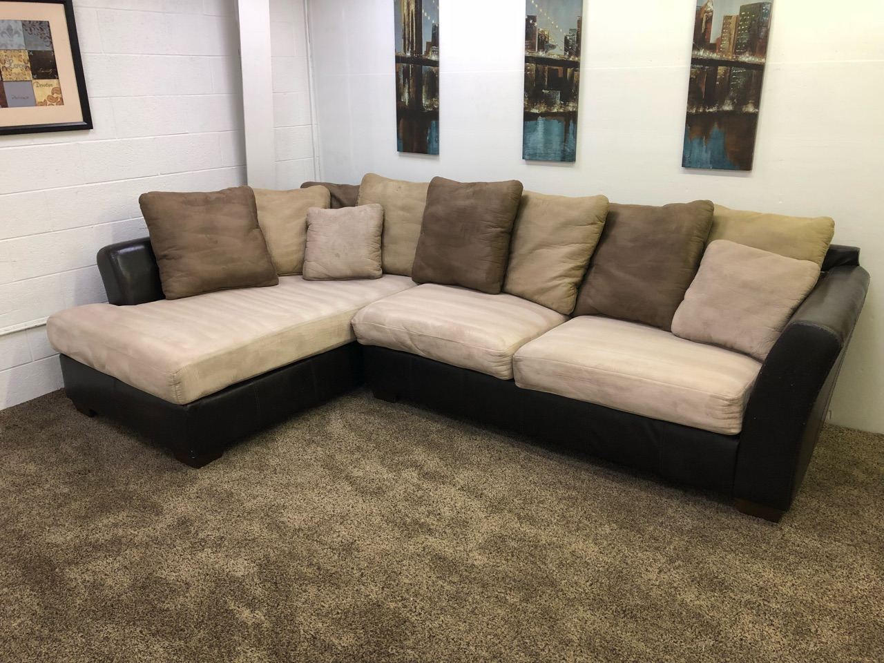 cream microfiber dark brown leather sectional sofa set with chaise