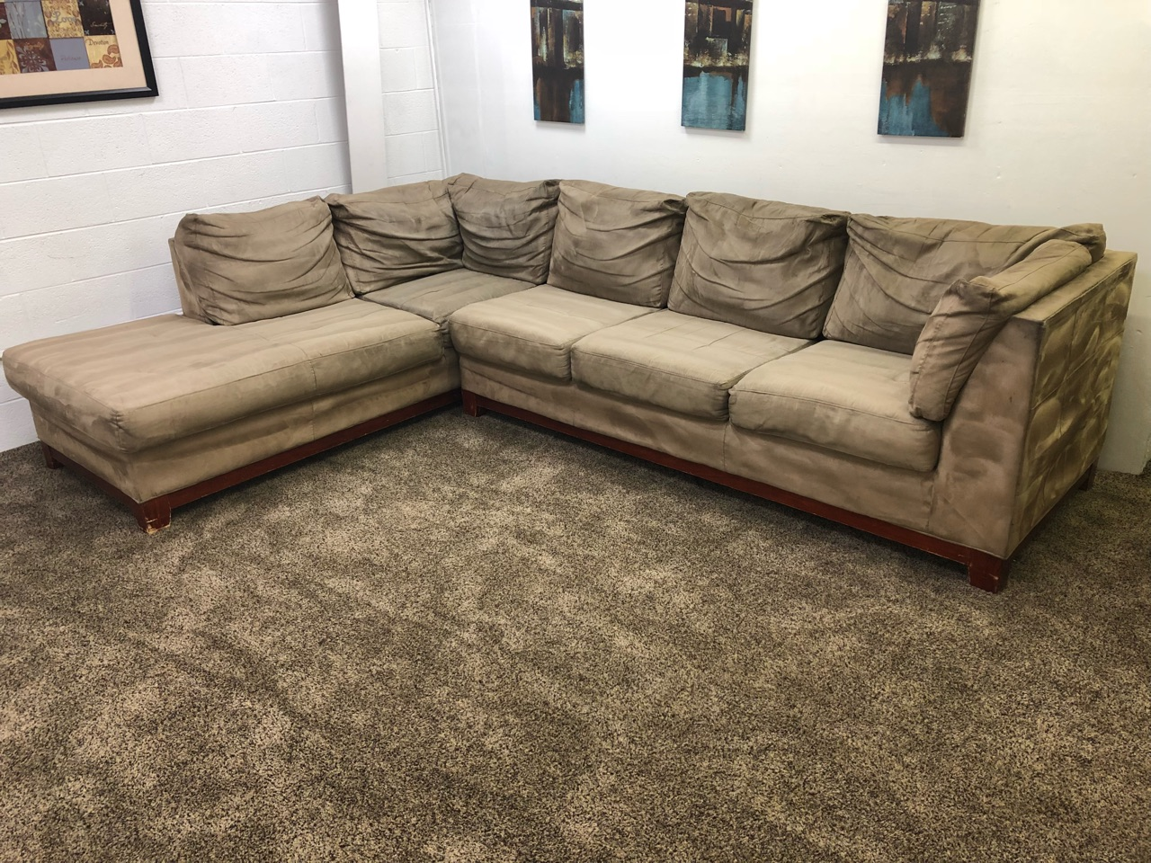 Refurbished Light Brown Microfiber Sectional Sofa W Chaise Lounge