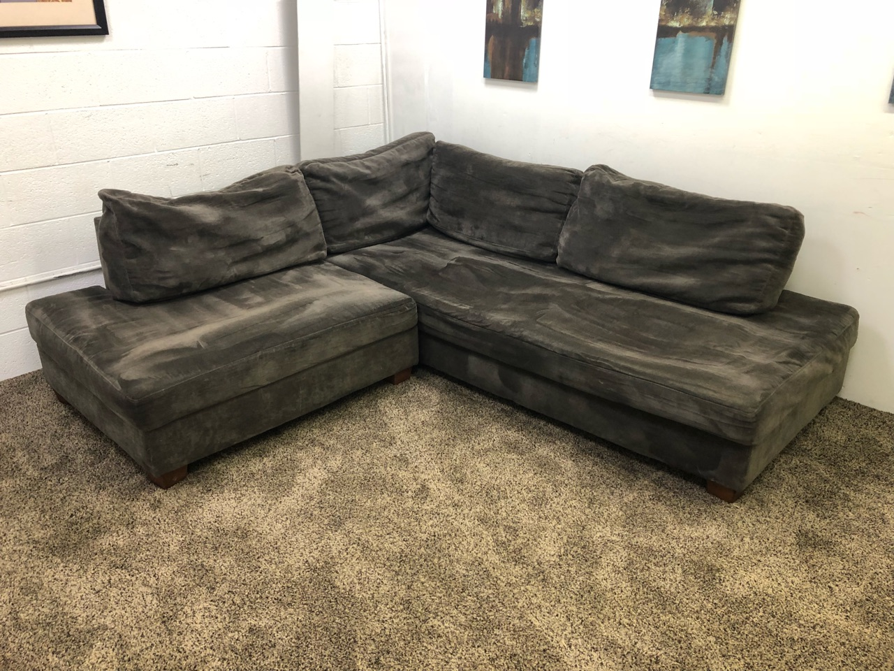 Refurbished Dark Brown Chenille Sectional Sofa Set W/ Chaise Lounge