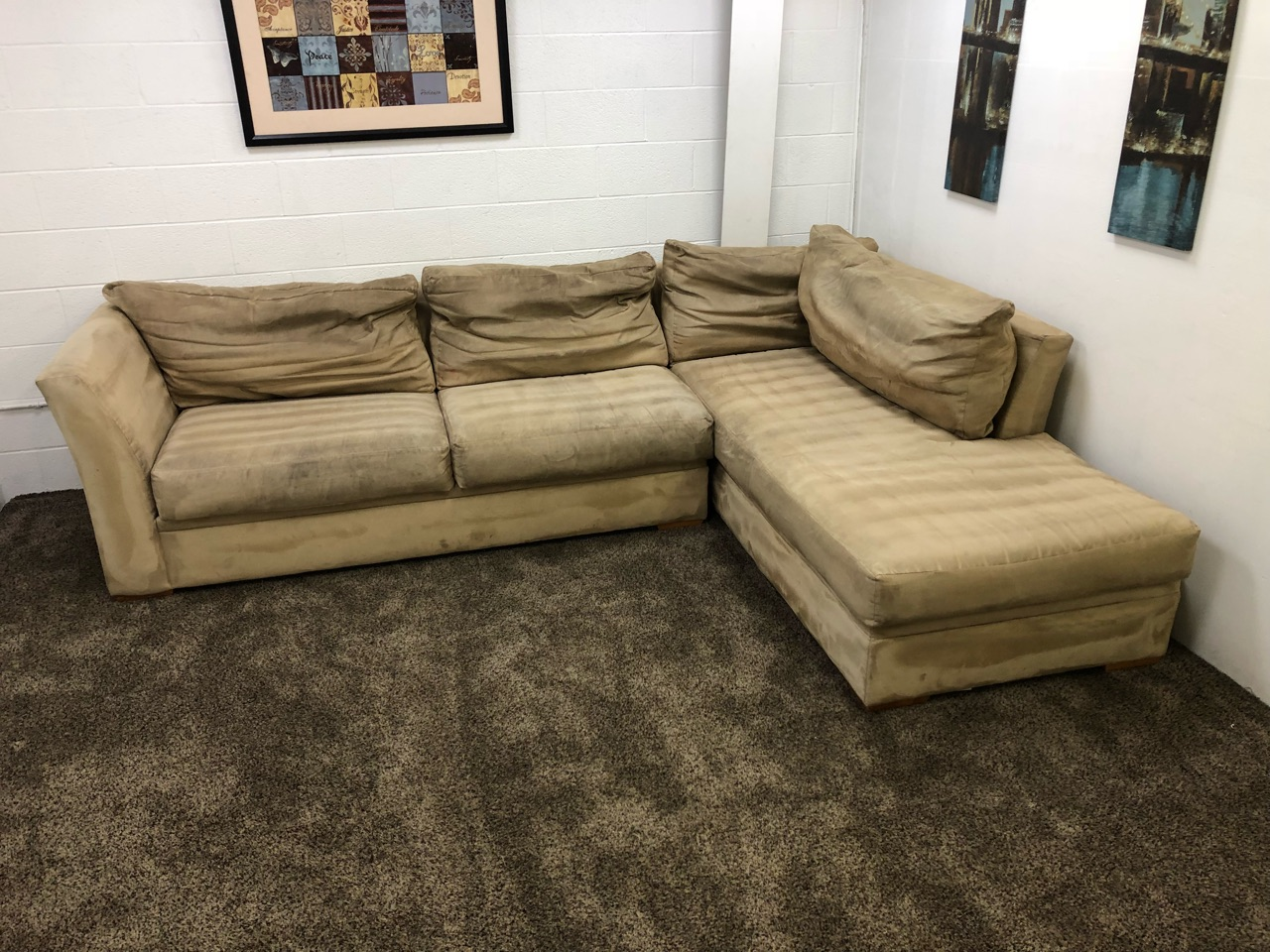 Merveilleux Refurbished 2 Piece Tan Sectional Sofa Set W/ Chaise Lounge