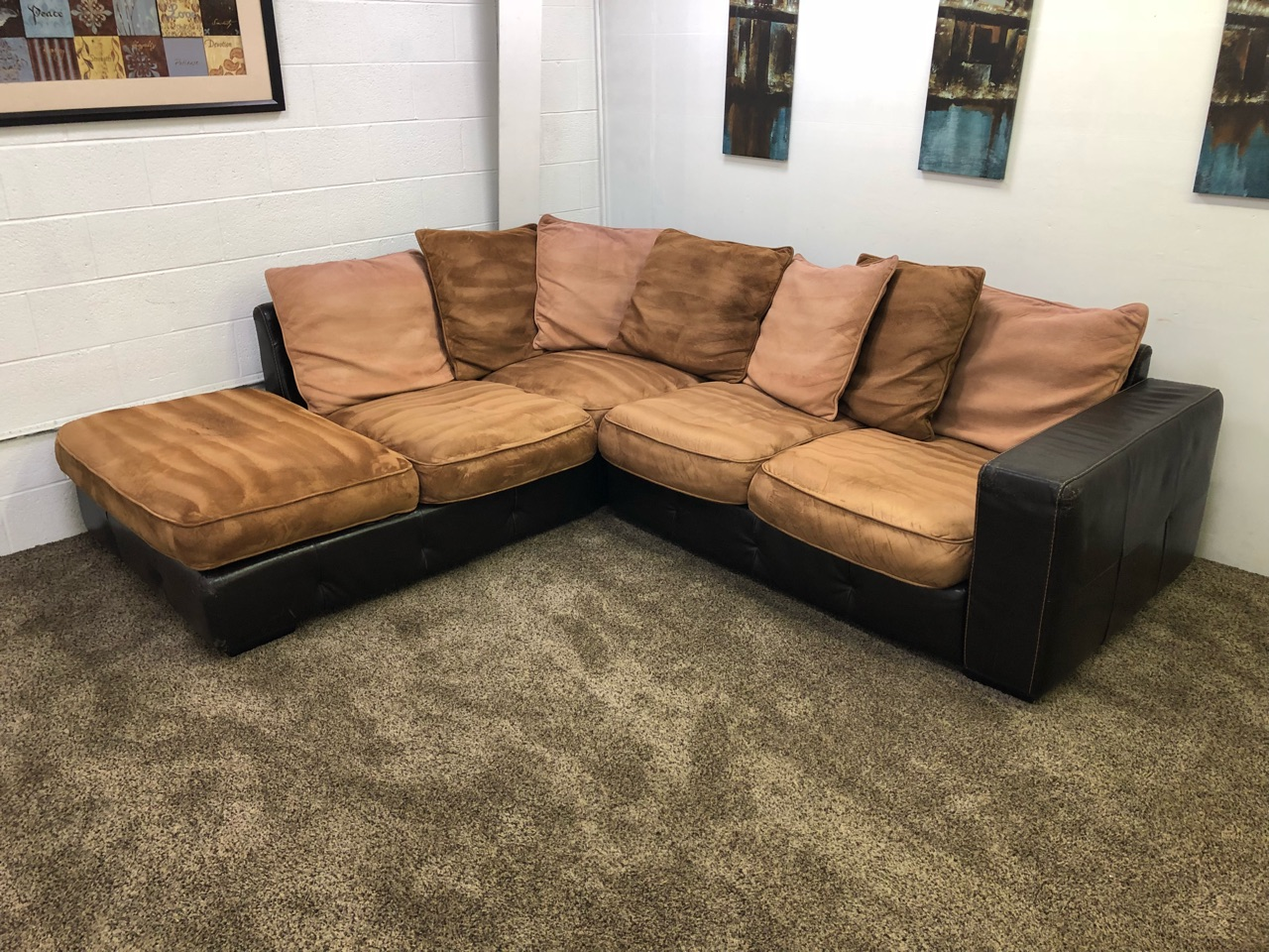 Awe Inspiring Reserved 1036 2 Piece Sand Brown Microfiber Pu Leather Sectional Set With Chaise Lounge And Multicolored Pillows Evergreenethics Interior Chair Design Evergreenethicsorg