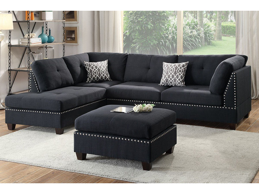 Black Linen Fabric Sectional Sofa W Matching Ottoman In