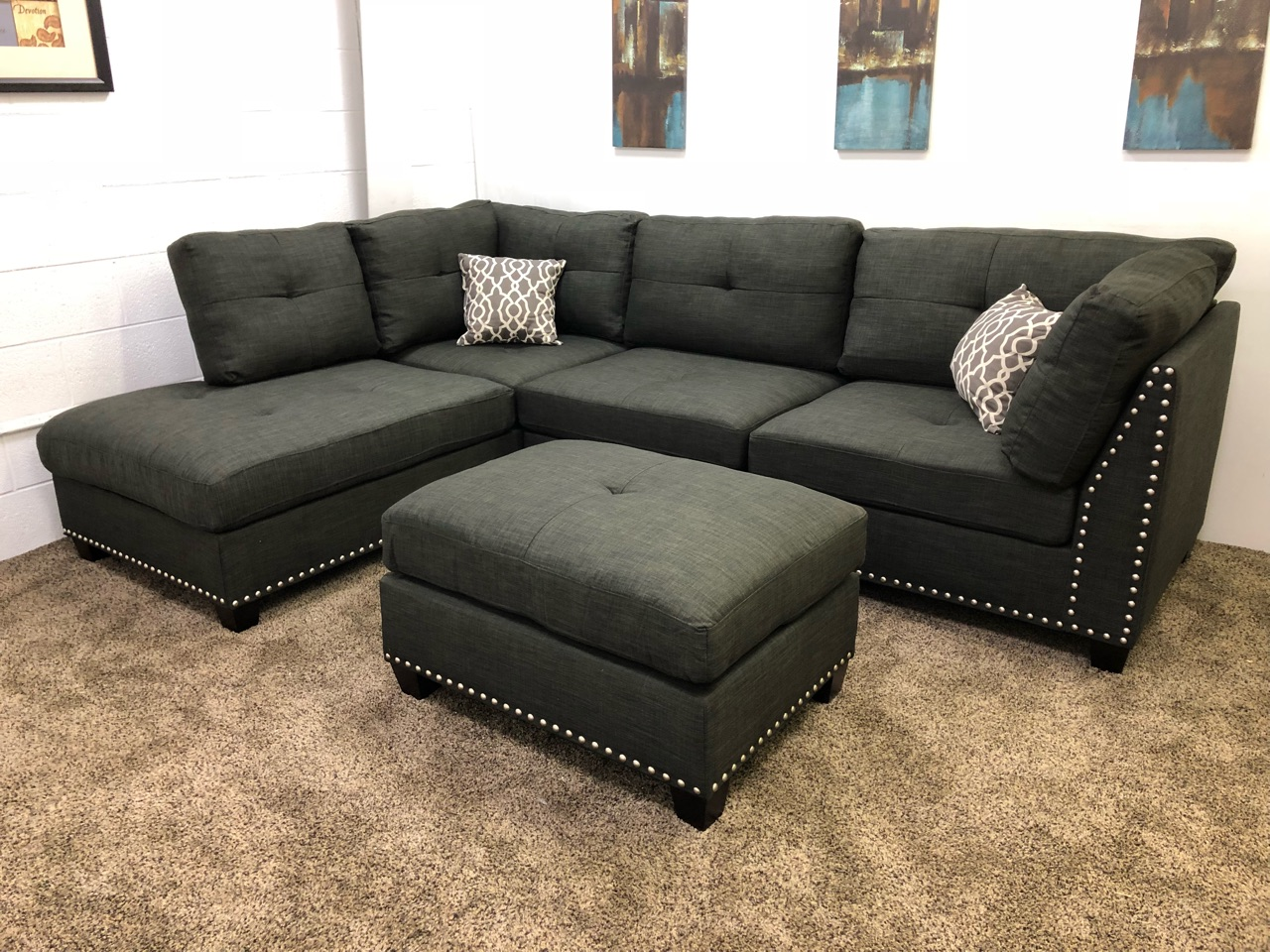Black Linen Studded Linen Sectional Sofa W Chaise Lounge
