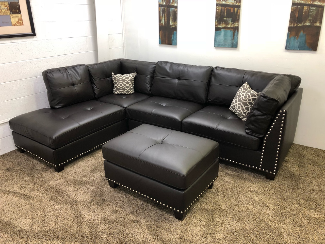 Lovely Light Black Vinyl Studded Sectional Sofa W/ Left Chaise Lounge And Ottoman