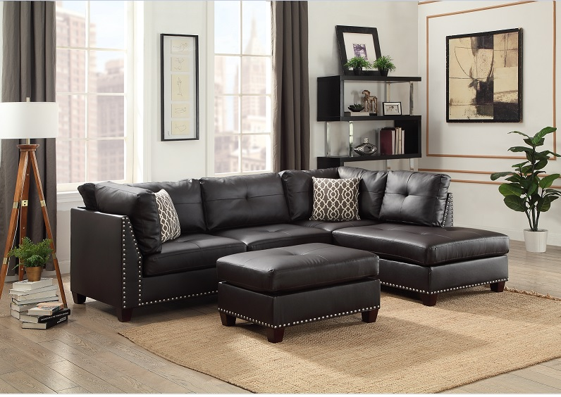 Light Black Vinyl Studded Sectional Sofa W/ Right Chaise Lounge And Ottoman
