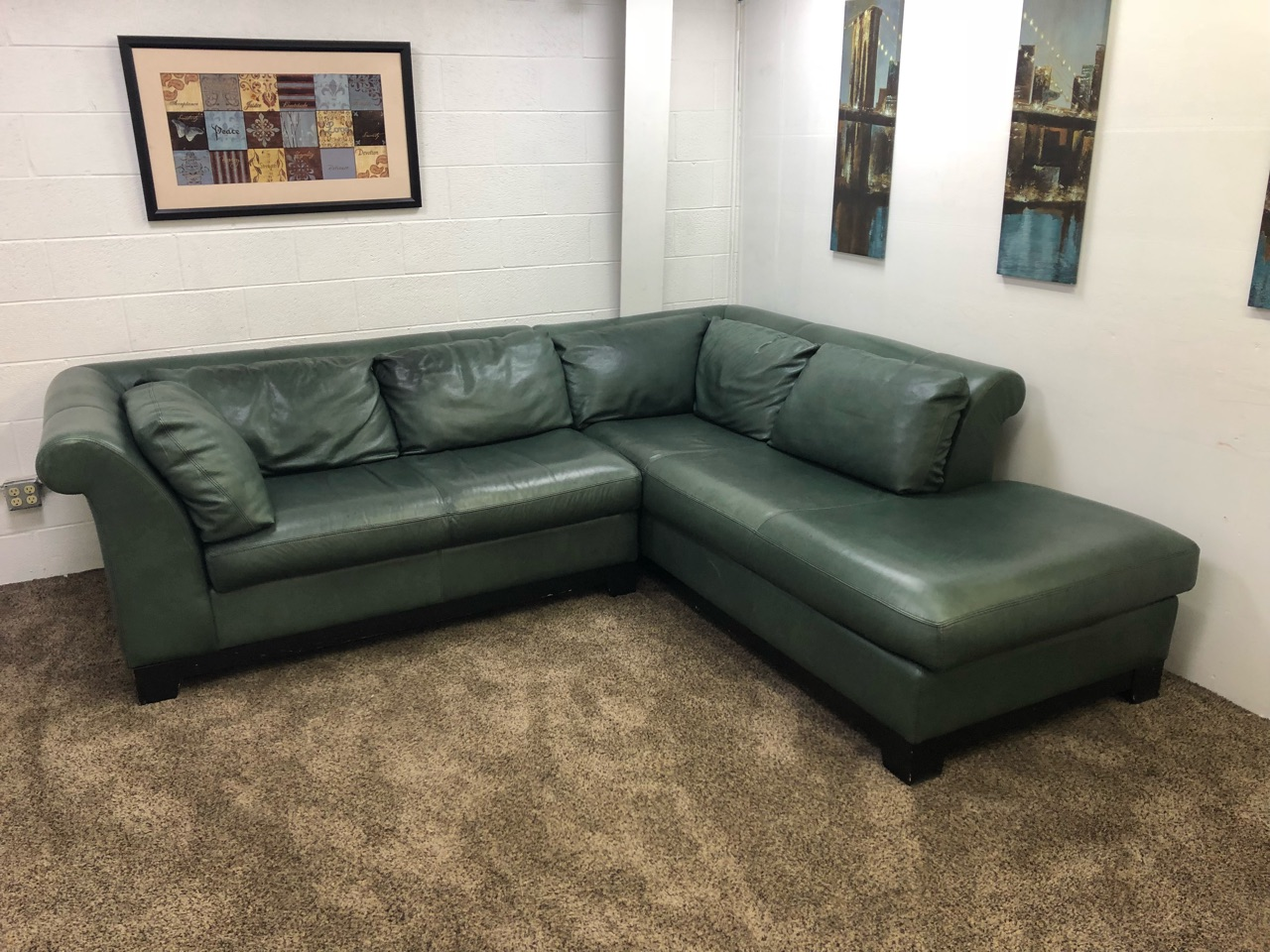 Forest Green Leather Sectional Sofa Set W Chaise Lounge