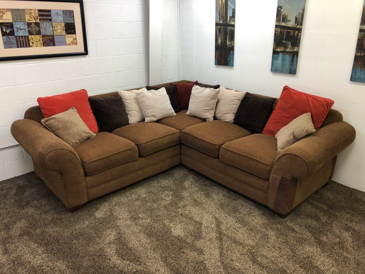 #1197  2 Piece Light Brown Fabric Sectional Sofa Set In Eugene Oregon