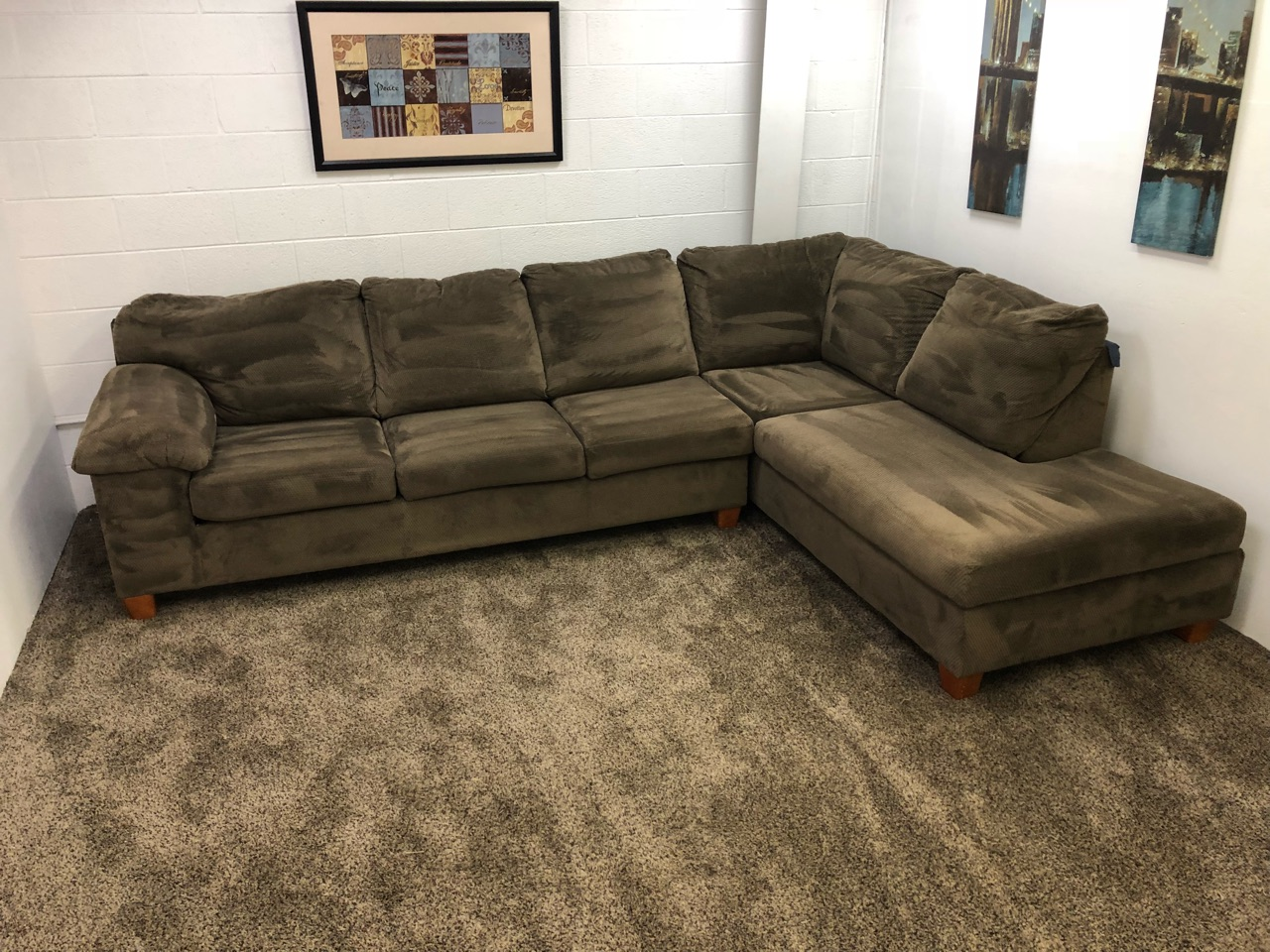 1280 2 Piece Brown Chenille Sectional Set With Chaise Lounge Revitalized Furnishings