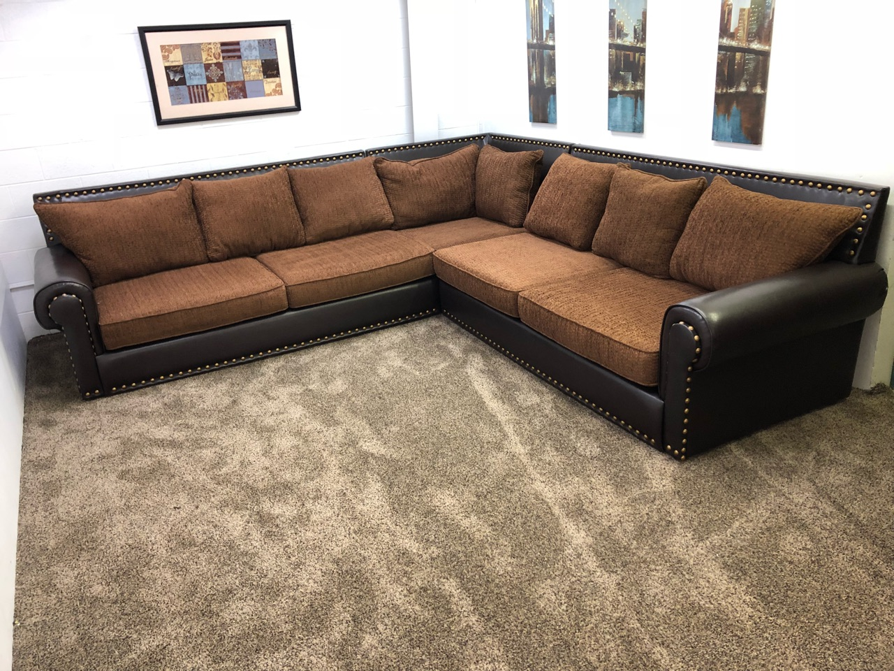 Delightful #1285  Large 3 Piece Brown Chenille PU Leather Sectional Sofa.