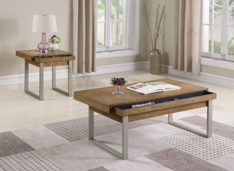 Contemporary Cocktail End Table With Movable Storage Medium Oak And Metal Finish
