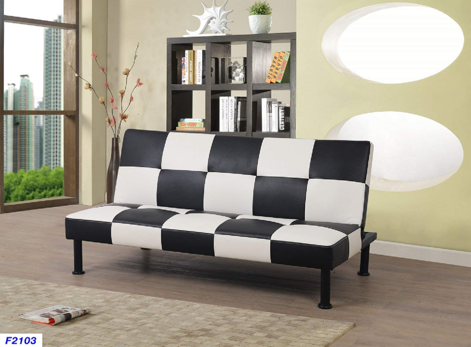 Black And White Checkered Design Adjule Sofa Futon Portland Oregon