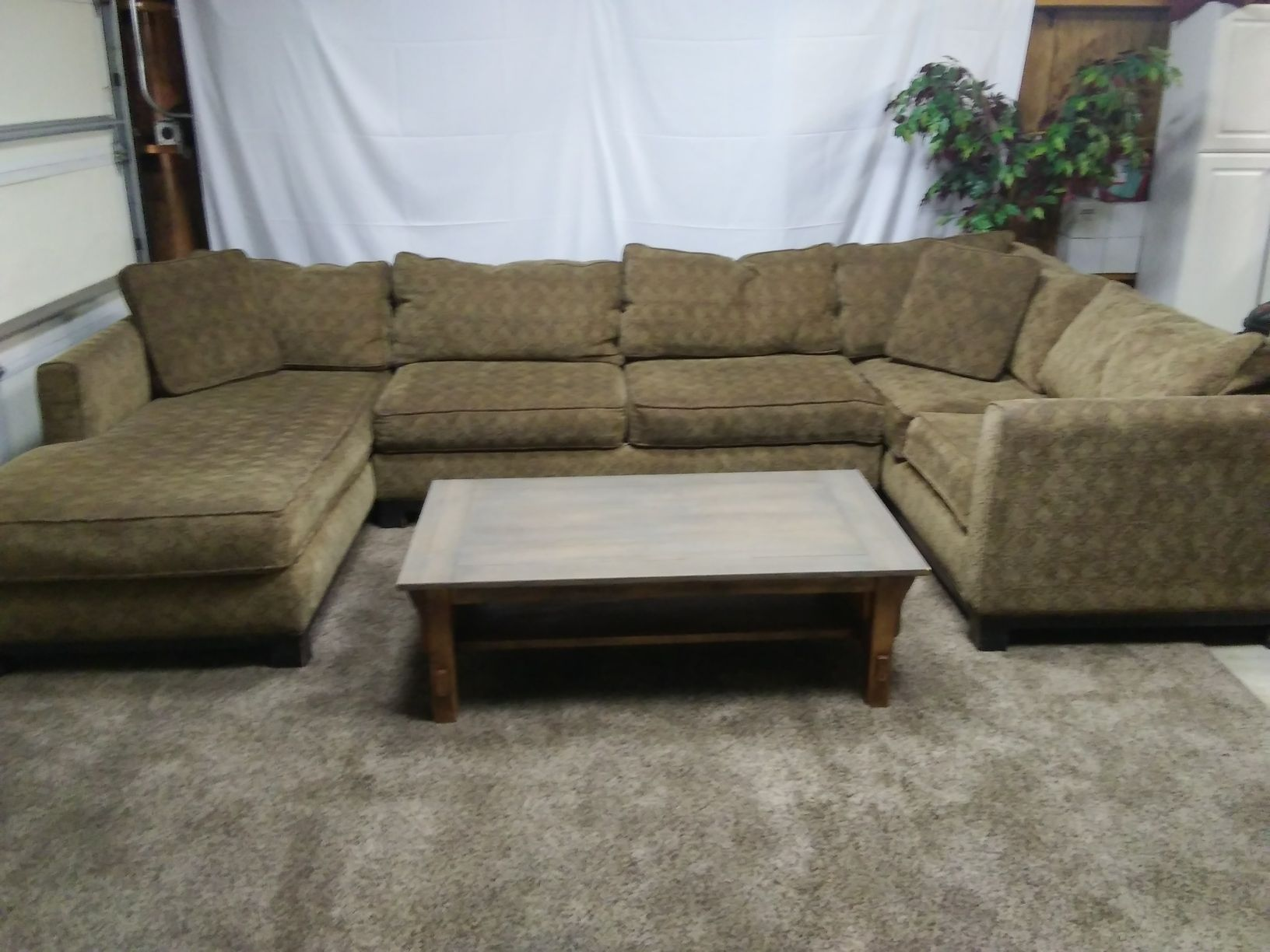 3 Piece Brown Chenille Sectional Sofa Set In Portland Oregon