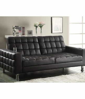 Adjule Sofa Bed With Cup Holders Dark Brown Vinyl Upholstery And Chrome Legs Silver Finish
