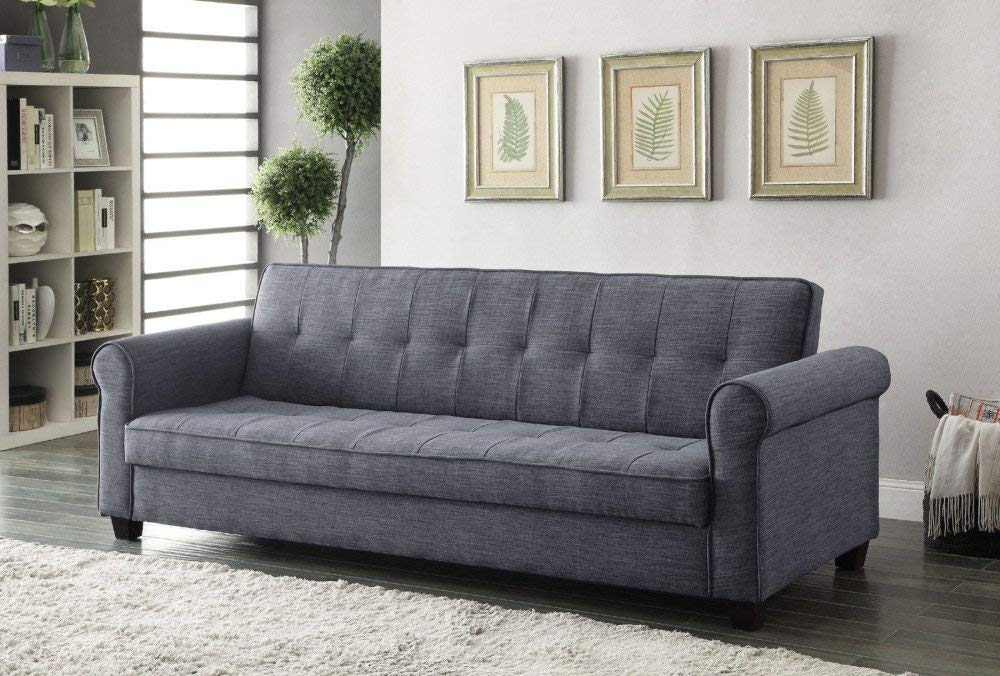 Blue Gray Linen Adjule Sofa Bed Futon Portland Oregon