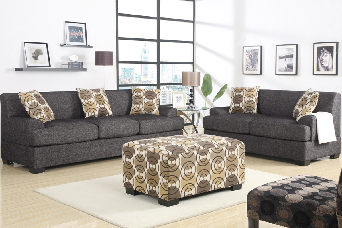 Terrific Ash Black Faux Linen Sectional Sofa Set With Reversible Frankydiablos Diy Chair Ideas Frankydiabloscom