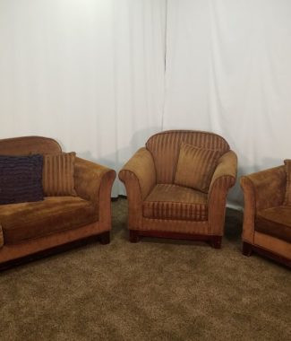 3 Piece Tan /Golden Brown Chenille Sofa, Love Seat, And Arm Chair Set