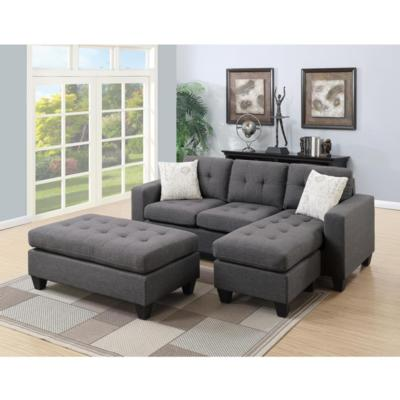 Blue Grey 3Pcs Sectional Sofa Microfiber And Faux Leather Trim ...