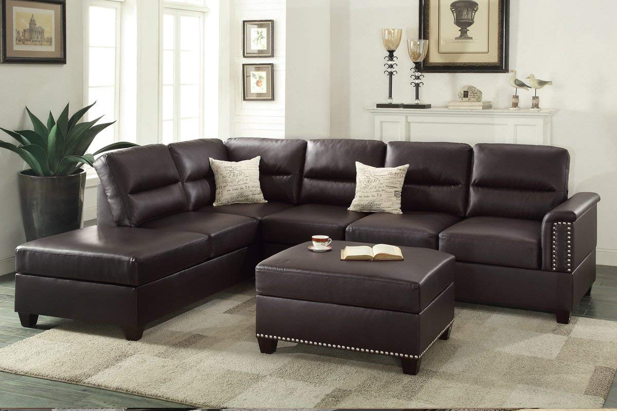Fantastic Espresso Bonded Leather Left Or Right Hand Chaise Sectional With Ottoman Set Beatyapartments Chair Design Images Beatyapartmentscom