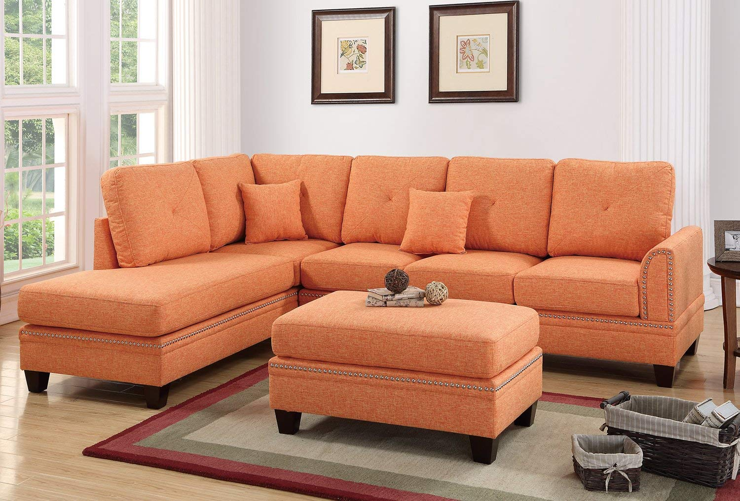 Citrus 2PC Sectional Sofa With Nail Head Trim Accents