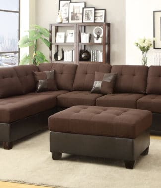 Chocolate Polyfiber 3pc Sectional Sofa With Ottoman Including 2 Pillows In Portland Oregon
