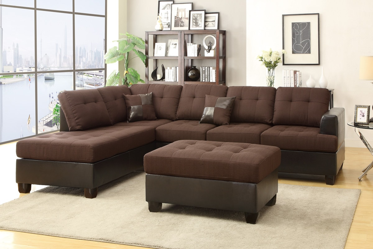Chocolate 3pc Sectional Set With Ottoman And 2 Accent Pillows