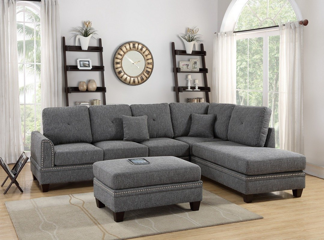 Ash Black 2PC Sectional Sofa With Nail Head Trim Accents