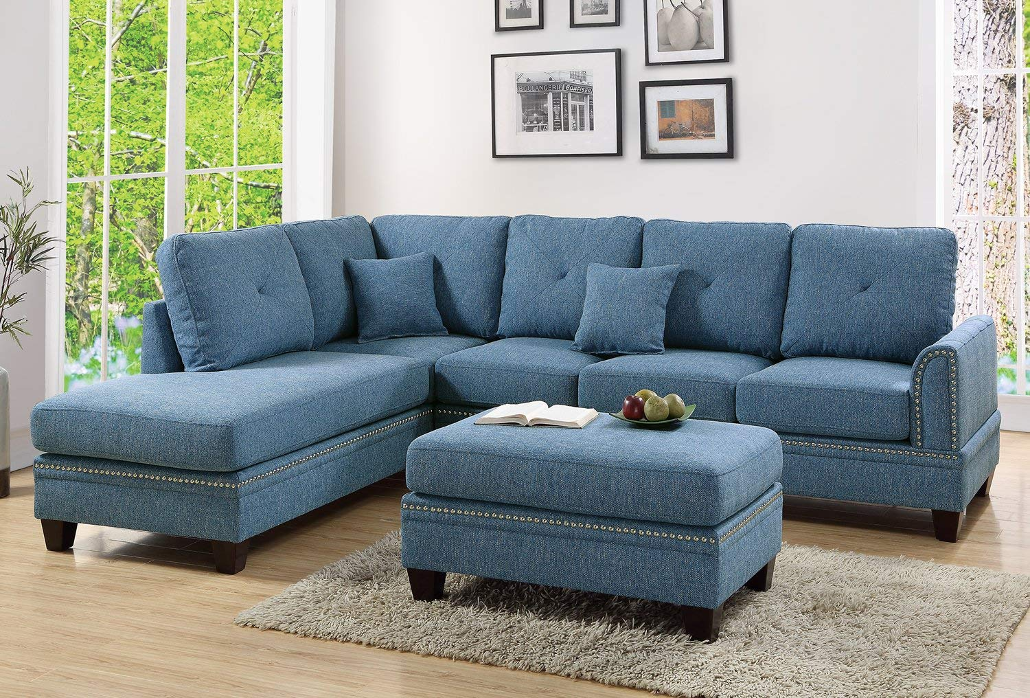 Blue 2PC Sectional Sofa With Nail Head Trim Accents