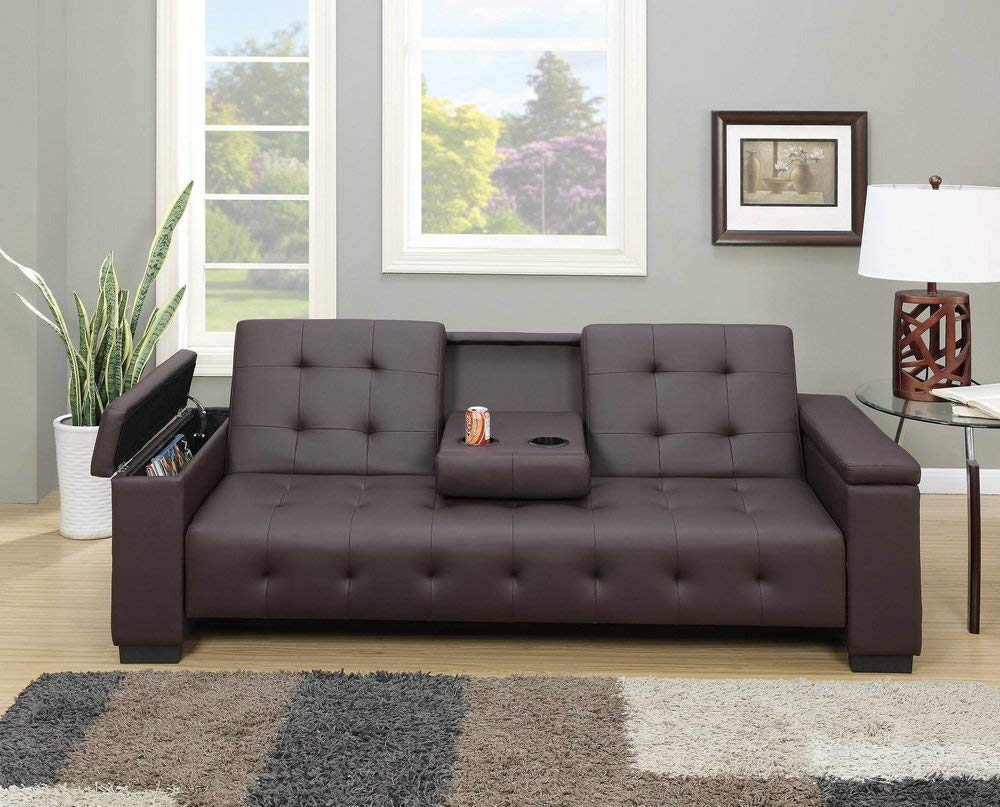 Espresso Faux Leather Adjustable Sofa Bed Revitalized