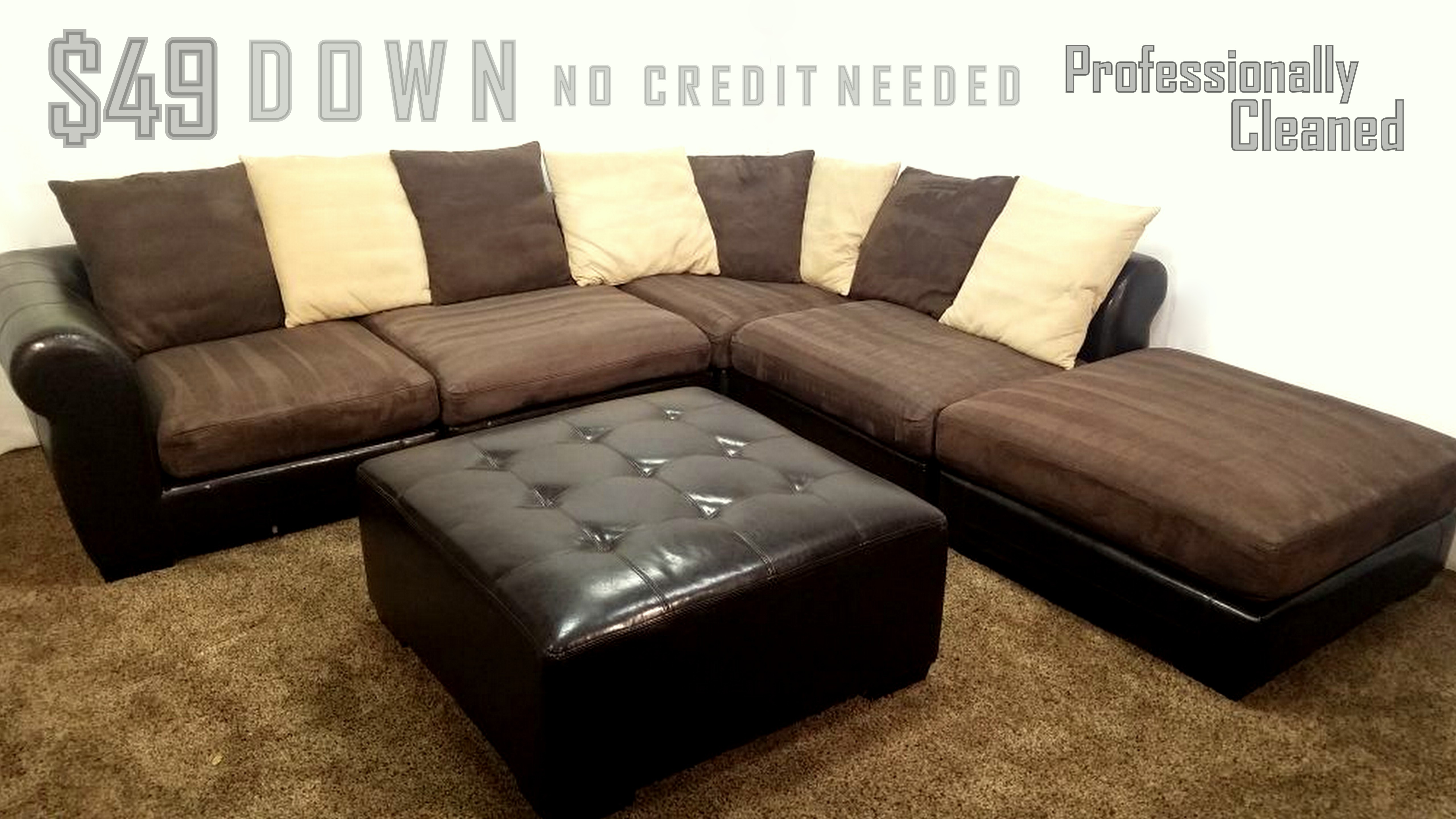 6 Piece Brown Microfiber And Leather Sectional Sofa And ...