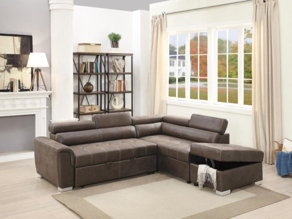 Dark Coffee Leatherette Convertible Sectional Sofa Bed w/ Storage Ottoman