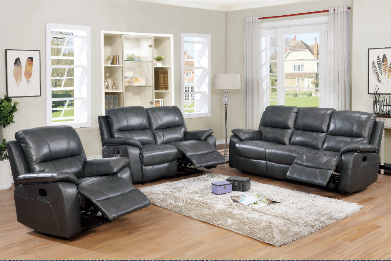 Dark Grey Genuine Leather Match Sofa And Love Seat Set With Reclining Ends