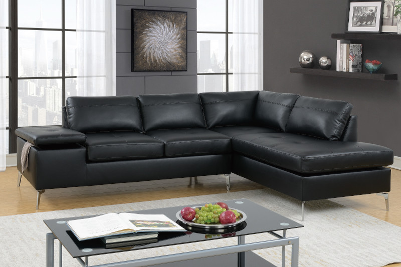Amazing Black Leatherette 2 Pcs Sectional Sofa Gmtry Best Dining Table And Chair Ideas Images Gmtryco