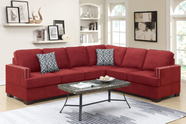 Red Microfiber 2-Pcs Sectional Sofa With Reversible Loveseat Wedge