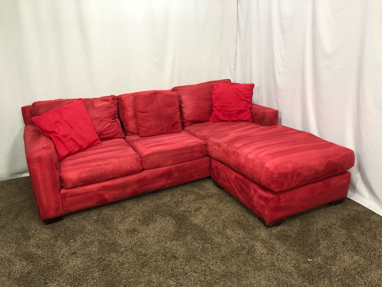 1482 professionally cleaned red sofa with reversible chaise in portland oregon