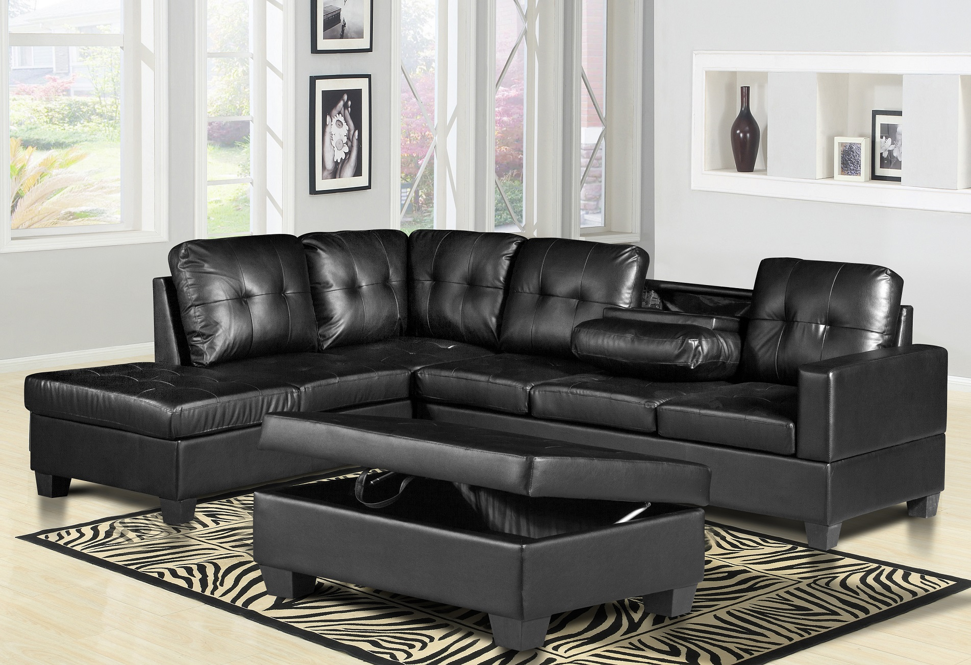Black 3PC Leather Sectional Sofa Set With Storage Ottoman