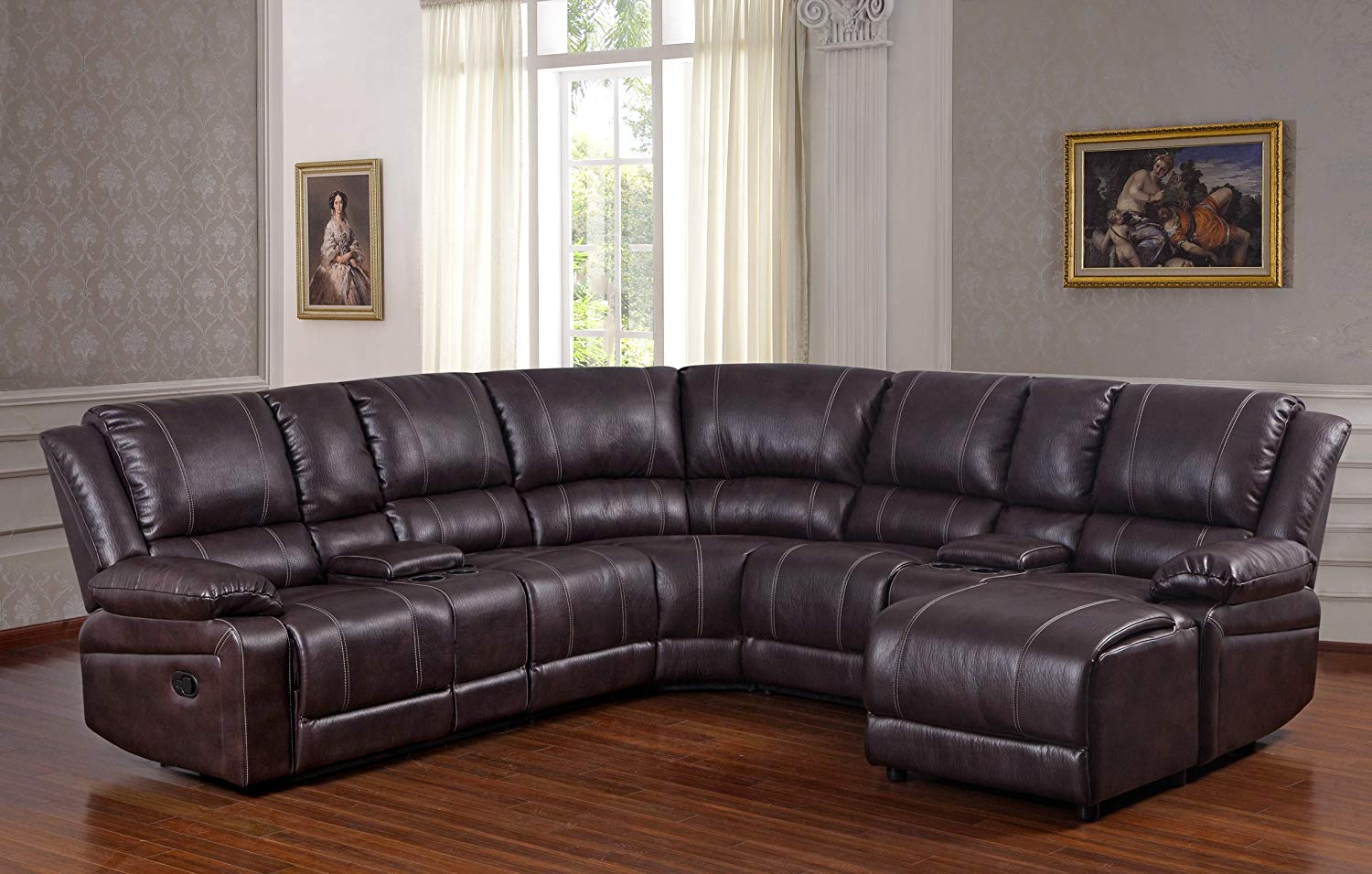 Pleasing Bubble Leather Brown Sectional Sofa With Recliner Chaise Console W Cup Holders Gmtry Best Dining Table And Chair Ideas Images Gmtryco