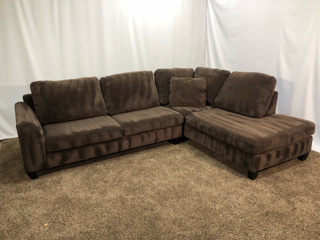 #1496 - Chocolate Brown Champion Microfiber Sectional Sofa ...