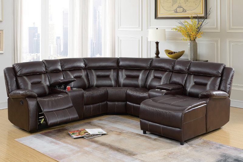 Fabulous 5Pc Dark Brown Gel Leatherette Sectional Sofa With Chaise And Recliners Gmtry Best Dining Table And Chair Ideas Images Gmtryco